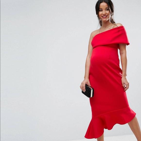 3938cbdf61090 ASOS Maternity Dresses | Petite One Shoulder Peplum Hem Midi Dress ...
